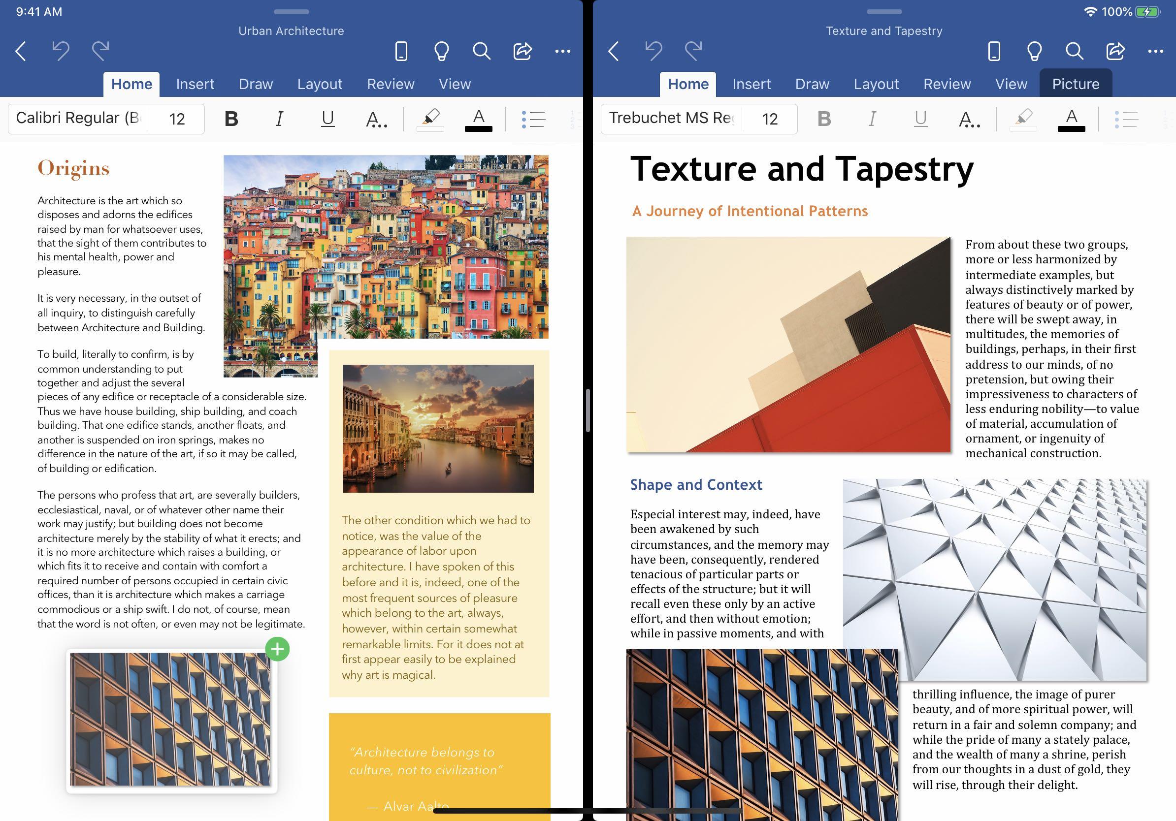 Usean ikkunan tuki on saatavana Wordissa ja PowerPointissa iPadilla 1