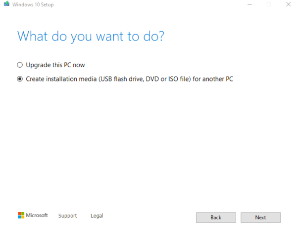 Suoratoisto a Windows 10 asennusta