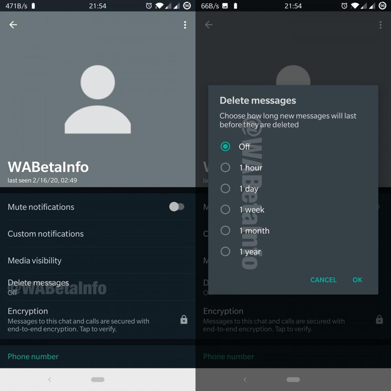 WhatsApp voi kirjoittaa väliaikaisia chat-viestejä 1