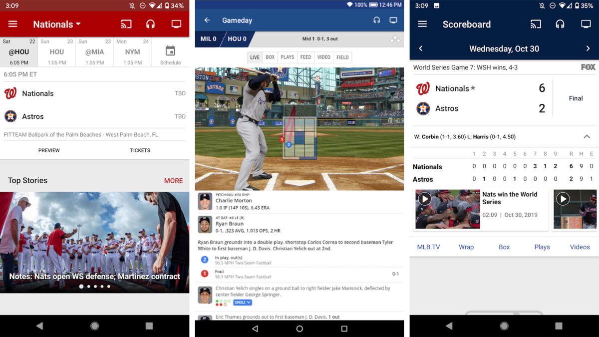 Captura de tela do aplicativo MLB 2020