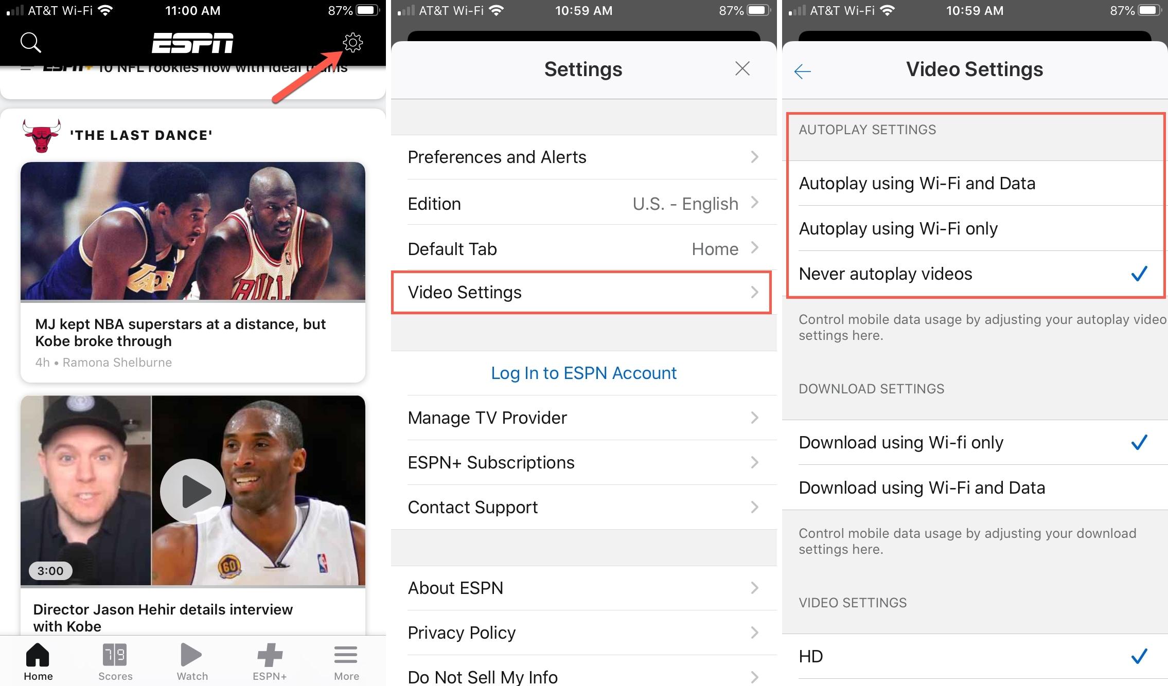 Настройки видео ESPN AutoPlay Никогда iPhone