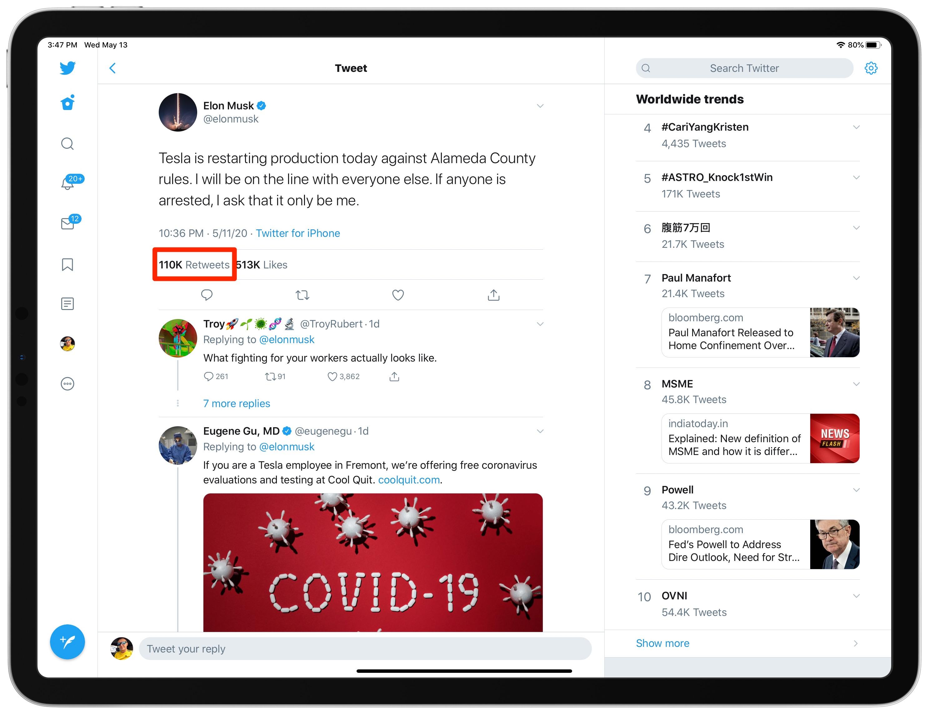 selaa tweets kommentteja sisältävällä iPad-sovelluksella