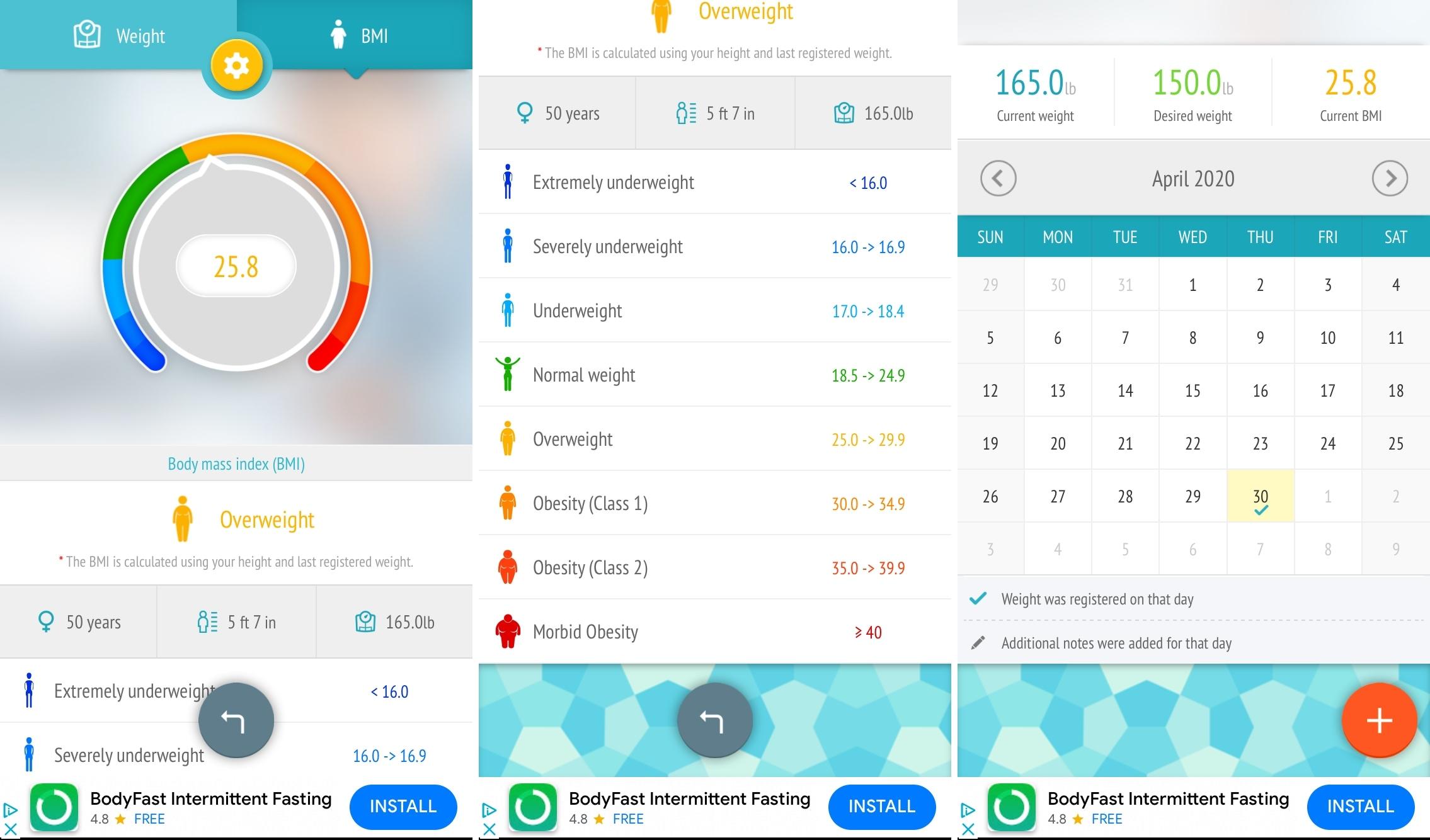 BMI iPhone painonpudotusmonitori