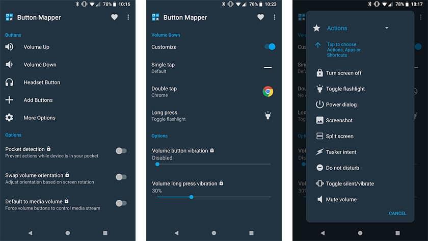 Button Mapper on yksi parhaista laitteiden kartoitussovelluksista Androidille
