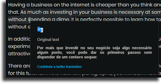 ponnahdusikkuna Google Translate -laajennuksen käyttämisestä Chromessa