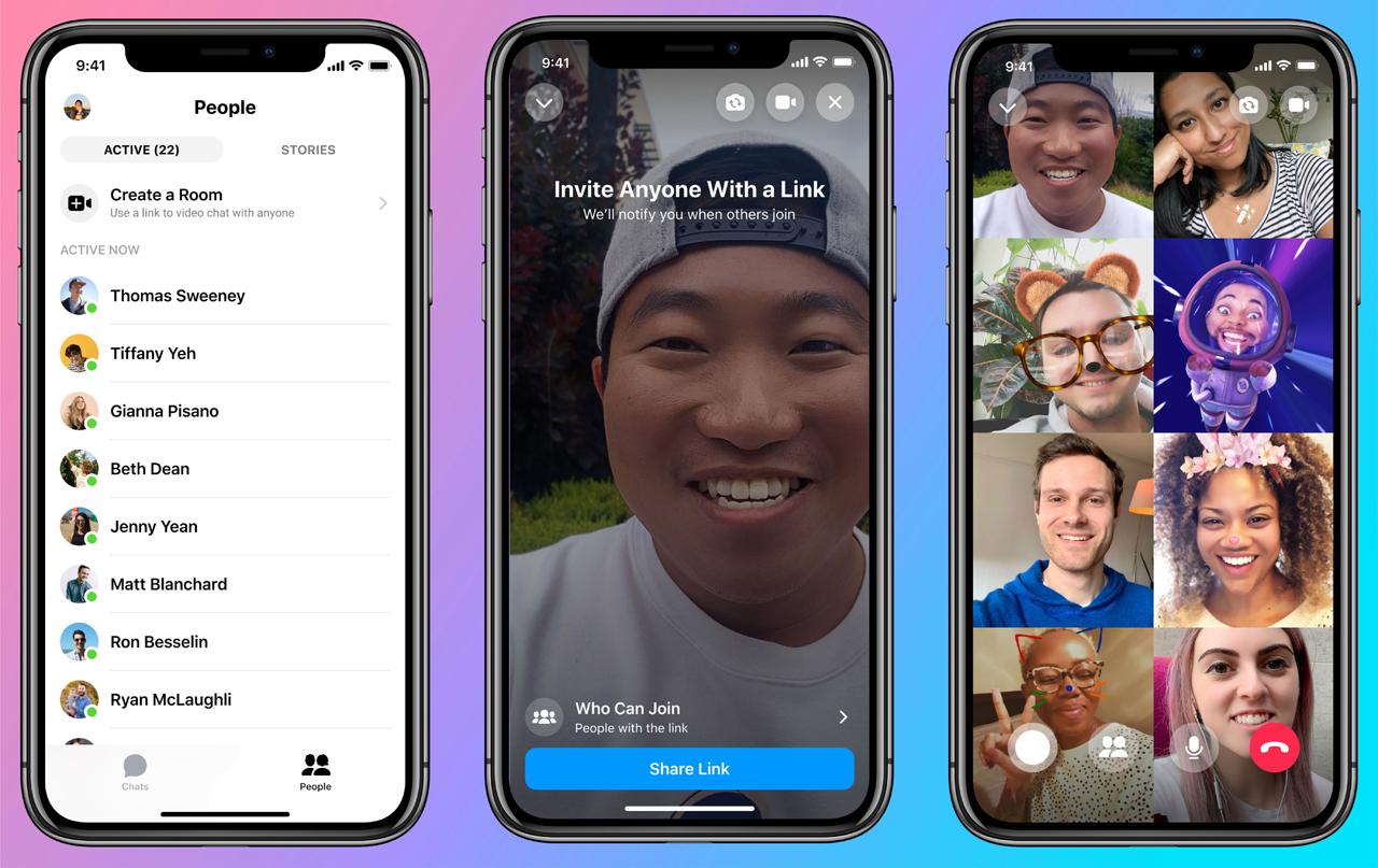 Facebook  Esittelee viestintähuoneet; Antaa jopa 50 osallistujalle soittaa videopuheluita 2