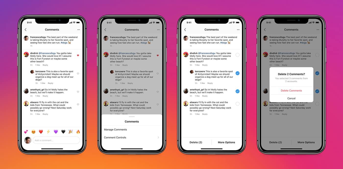 Instagram  testa comentários fixados, agora permite que os usuários excluam comentários em massa 1