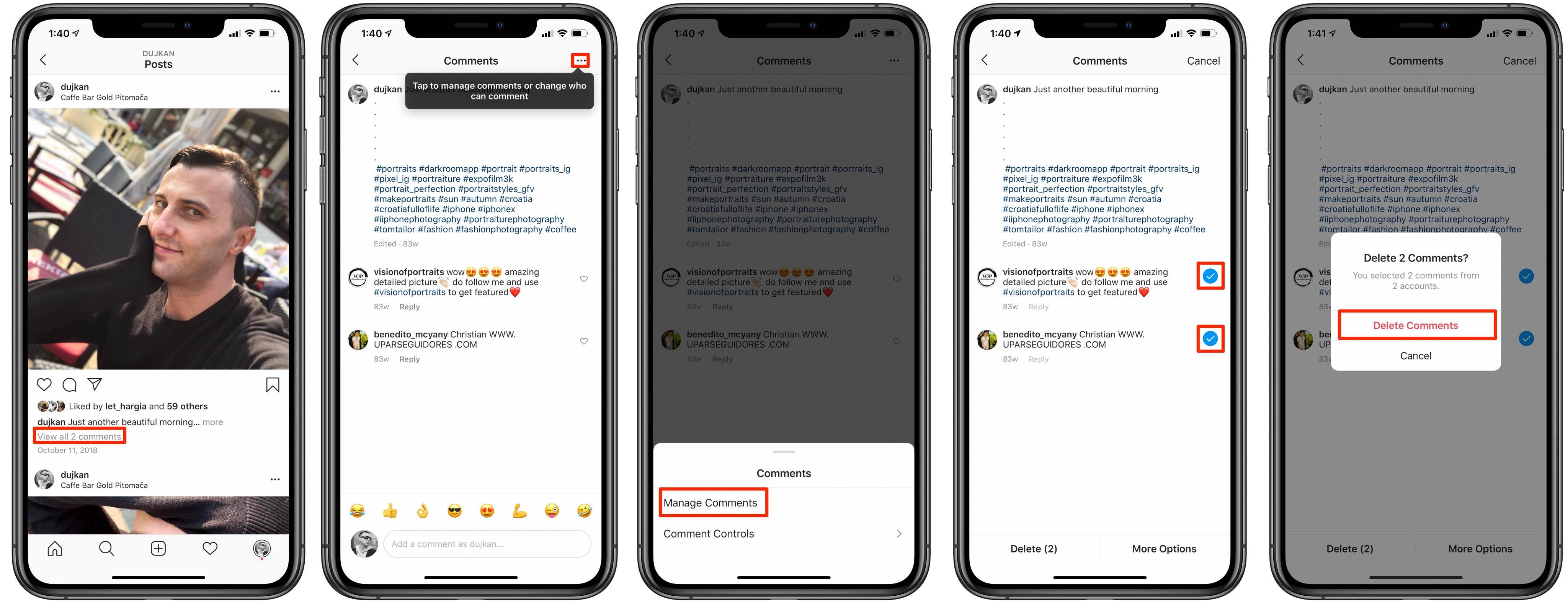 Kuinka poistaa paljon Instagram kommentit irtotavarana iPhone-sovelluksessa