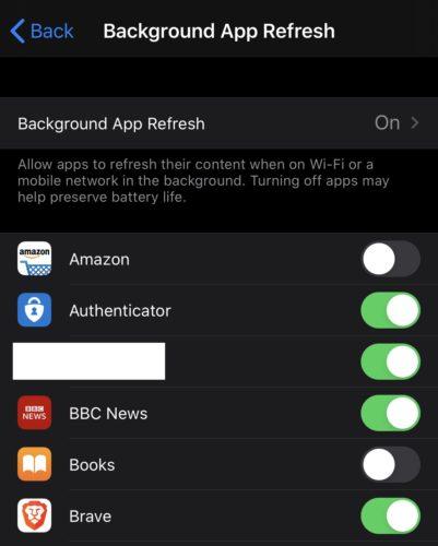 iPhone / iPad: Ota käyttöön / pois käytöstä sovelluksen taustapäivitys 1