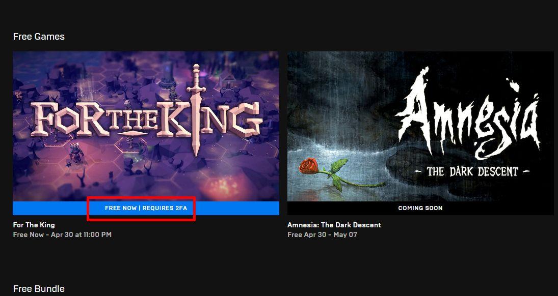 Epic Games Store vaatii nyt 2FA: n hakemaan ilmaisia pelejä 2