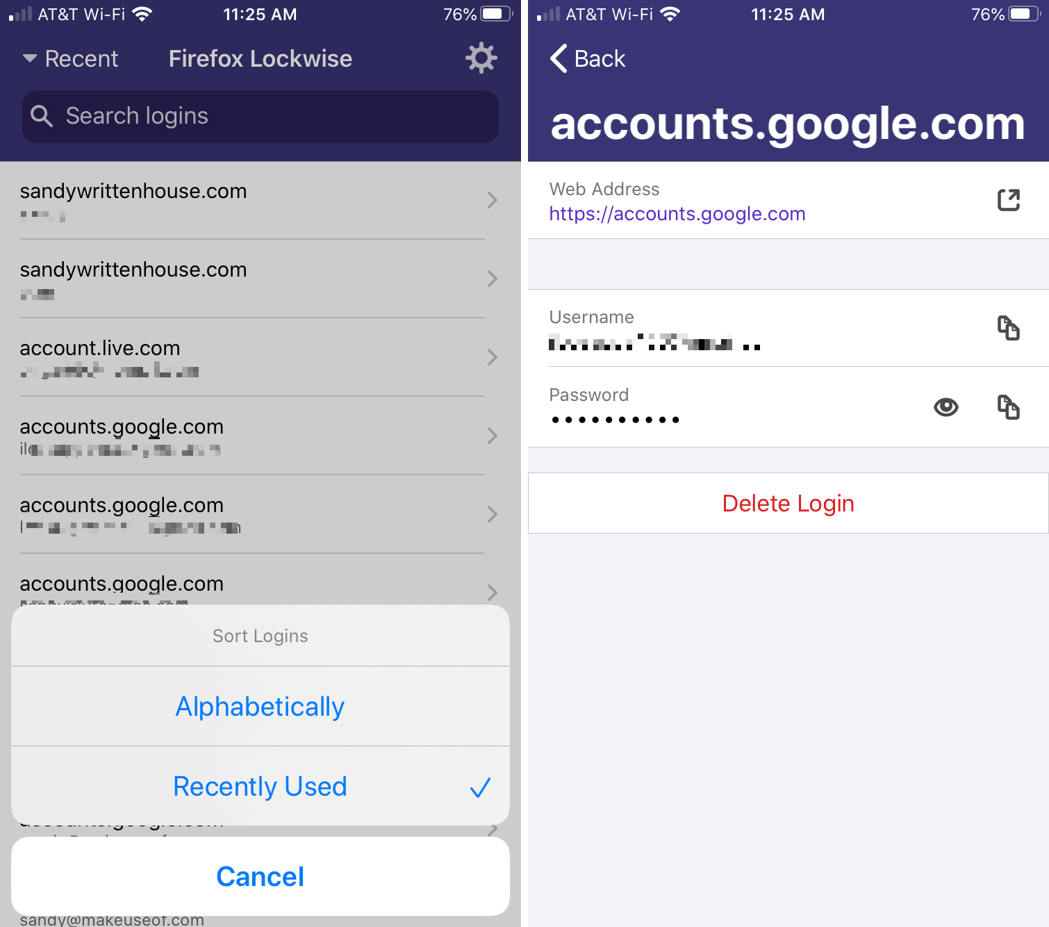 Firefox Lockwise -tilit iPhone