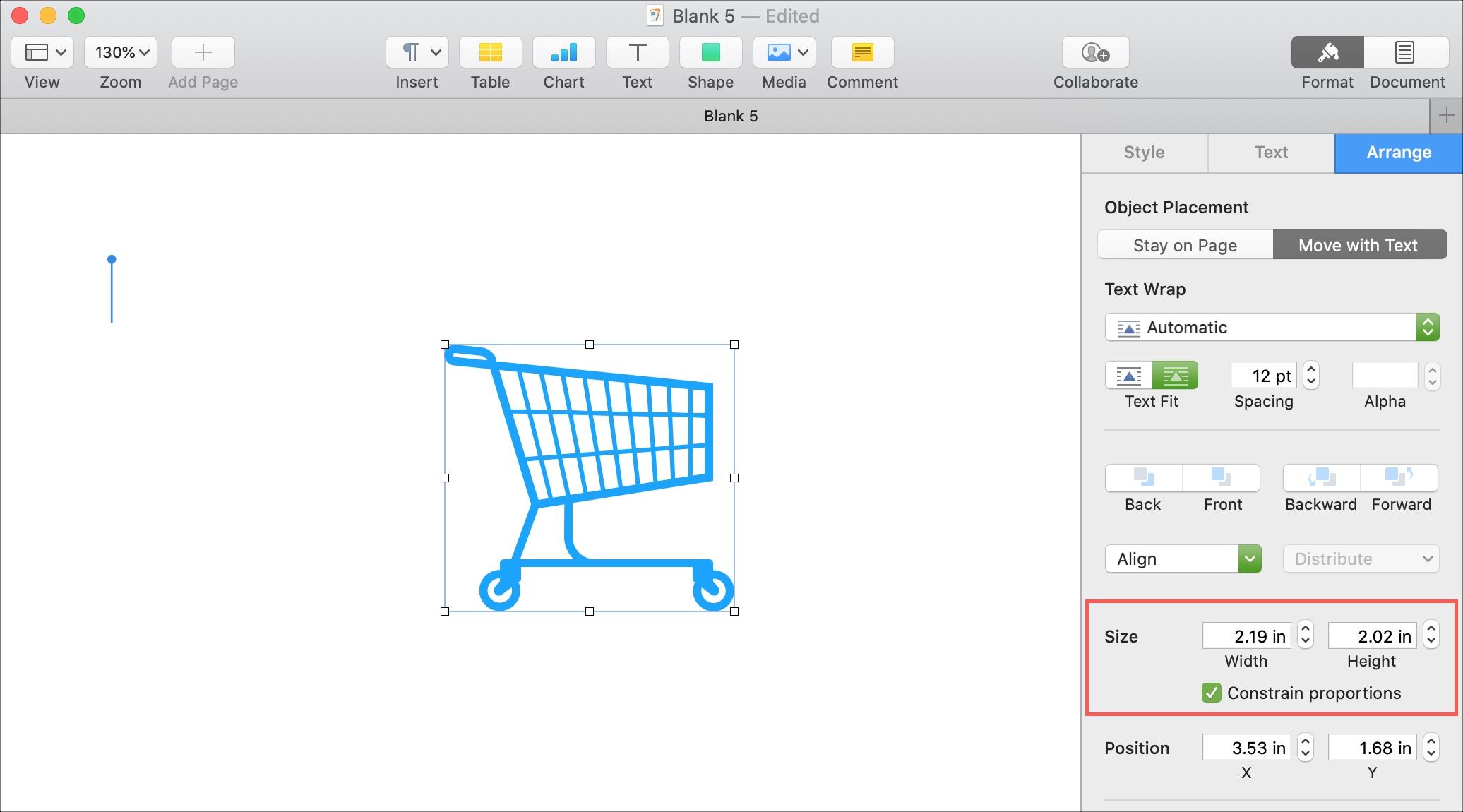 Страницы Изменить размер объекта Mac
