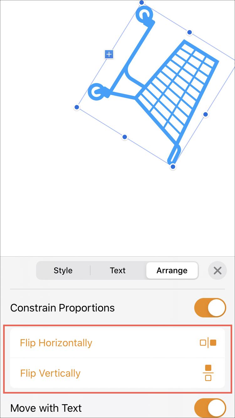 Страницы перевернуть объект на iPhone