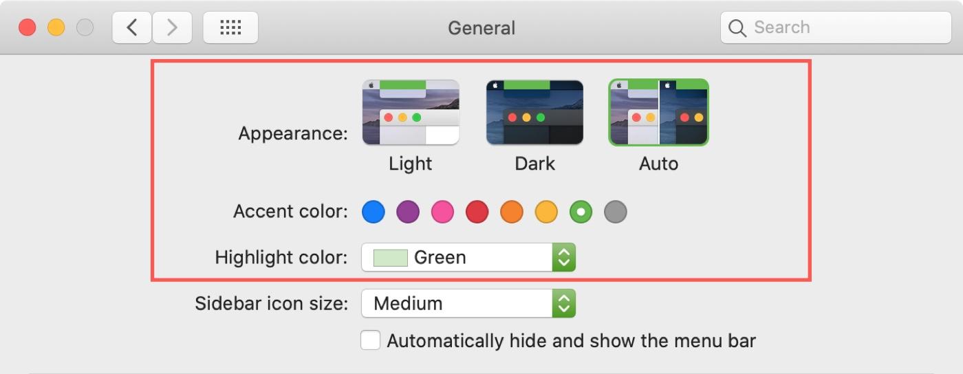 Выберите цветовую схему Mac