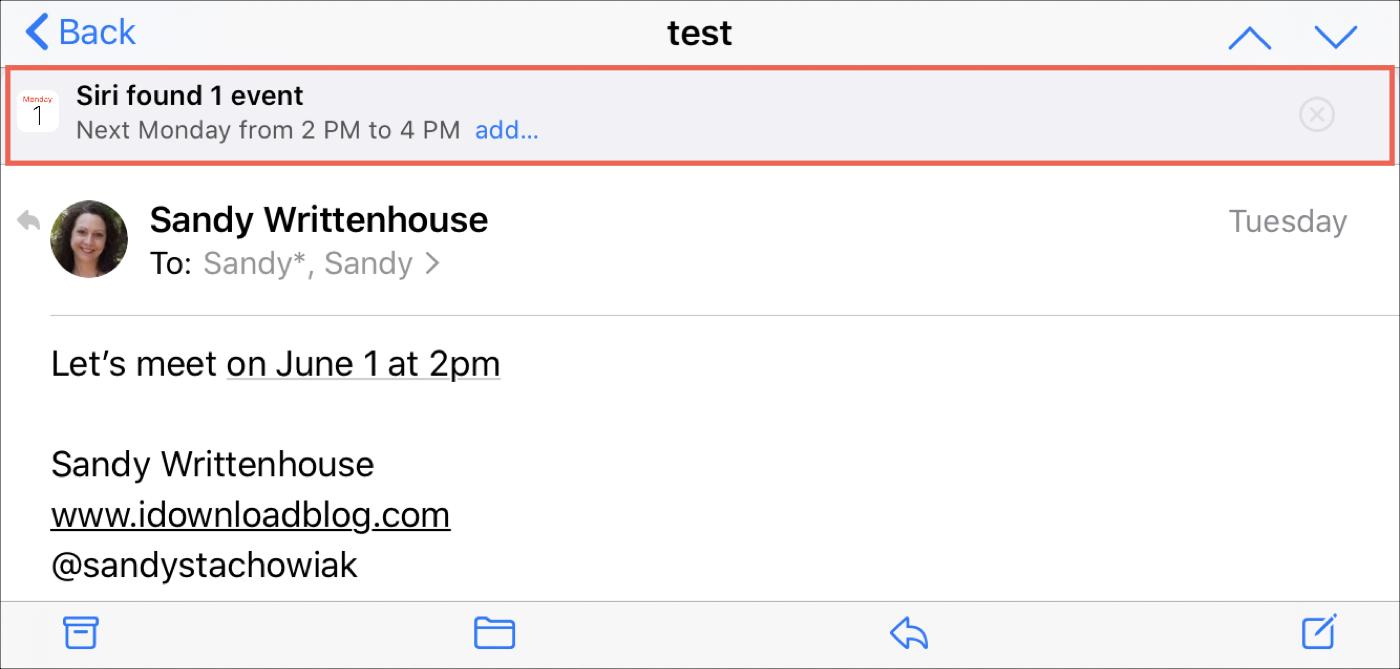 Návrh Siriho v e-maile pre iPhone
