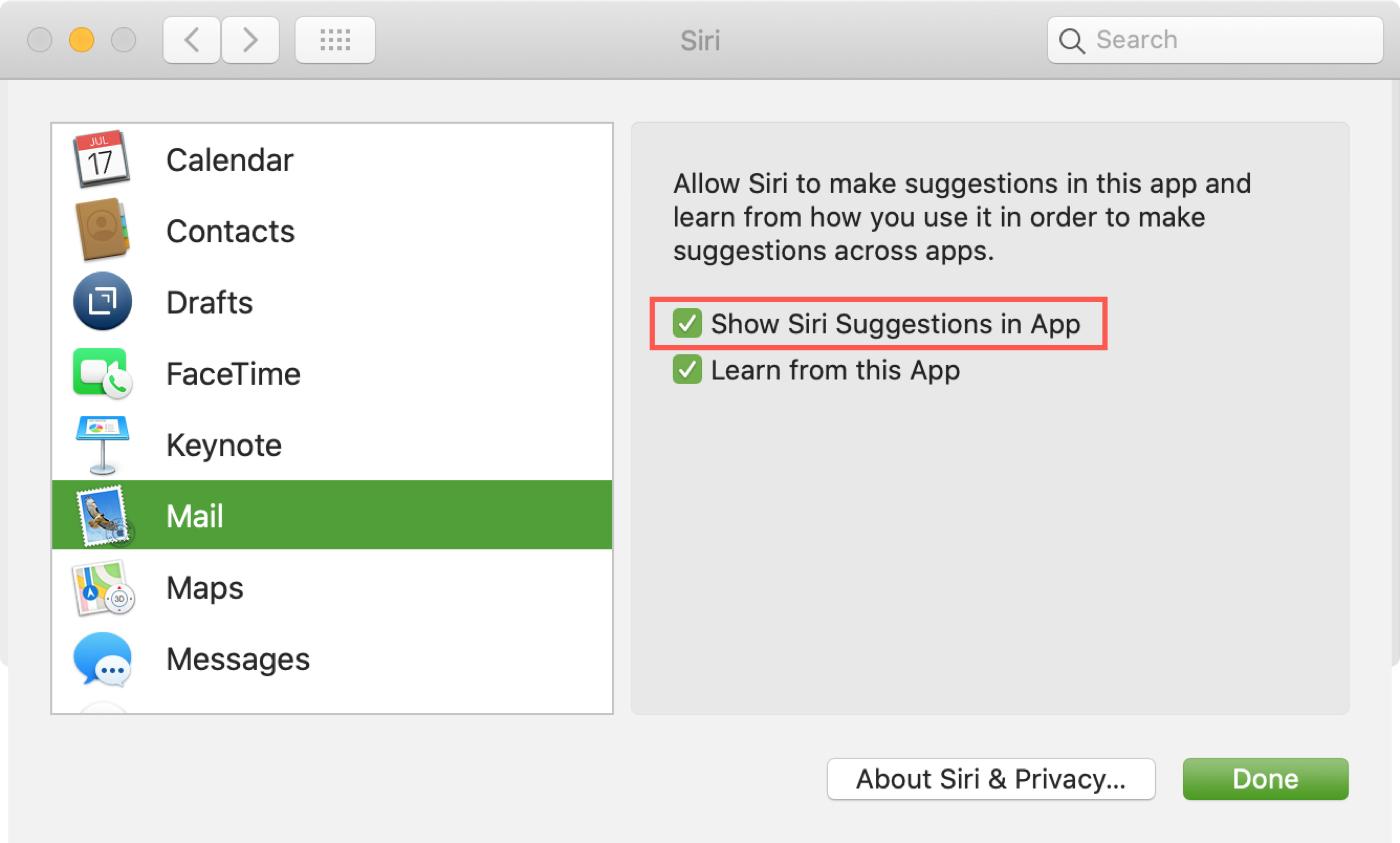Zobraziť návrhy Siri v aplikácii Mac Mail