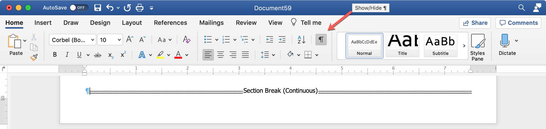 Word Show Section Break Mac