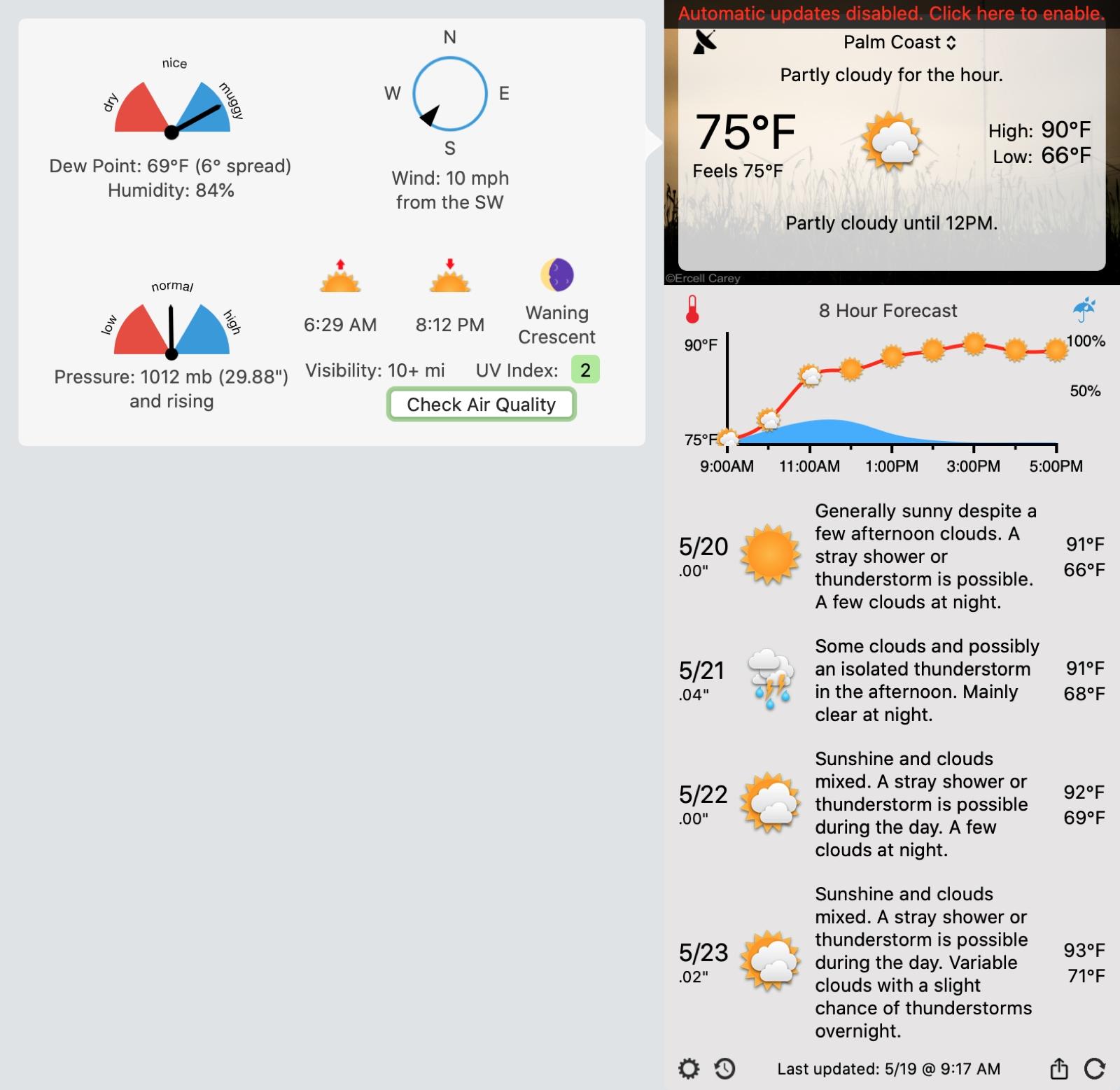 Aplicativo Forecast Bar para Mac
