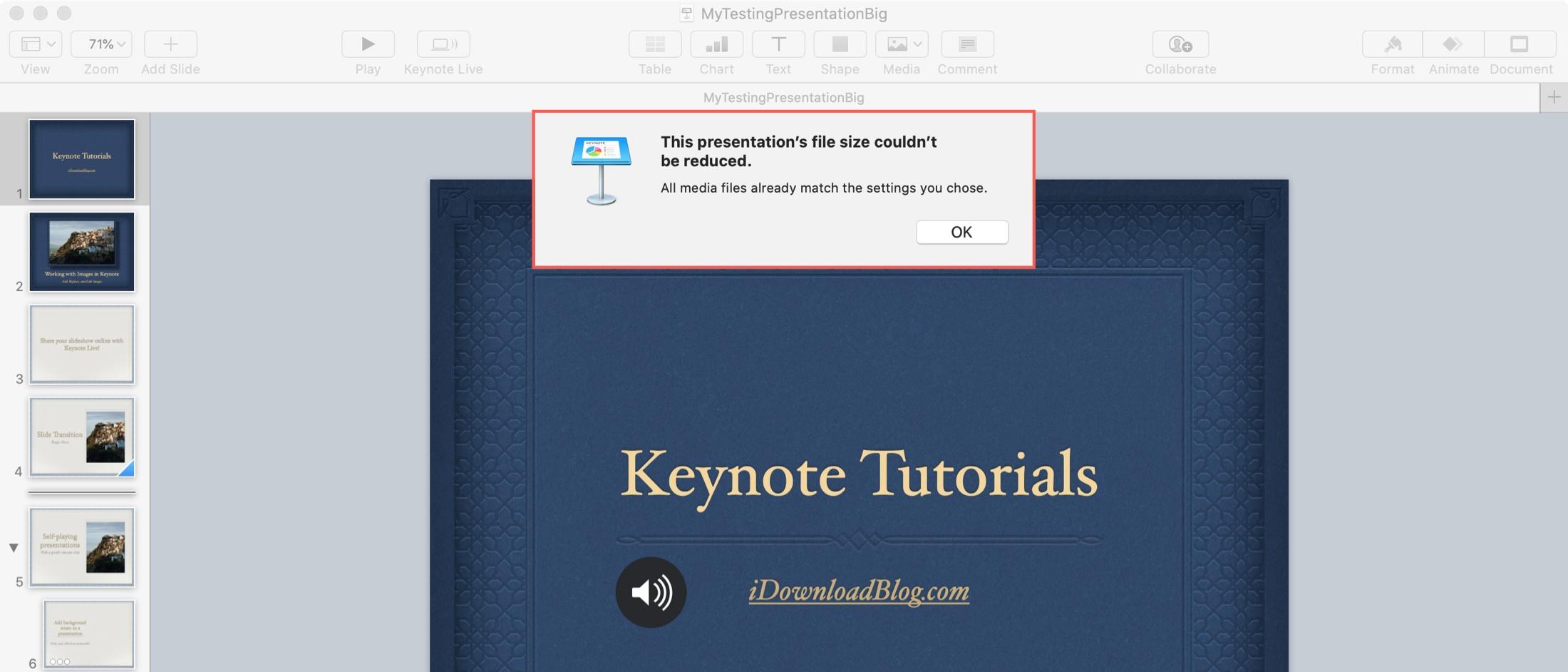 Keynote Zmenšenie veľkosti súboru nemôže Mac