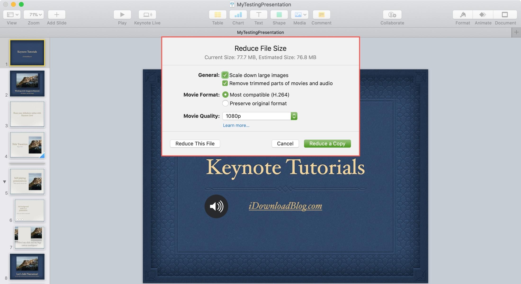 Keynote Zníženie nastavení veľkosti súborov Mac