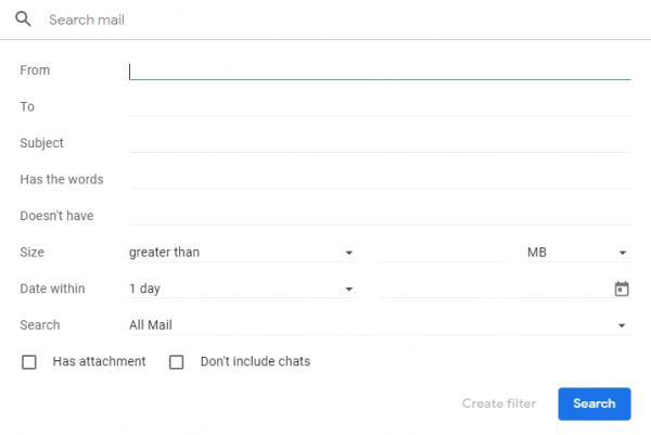 Sähköpostien etsiminen Gmailissa 2