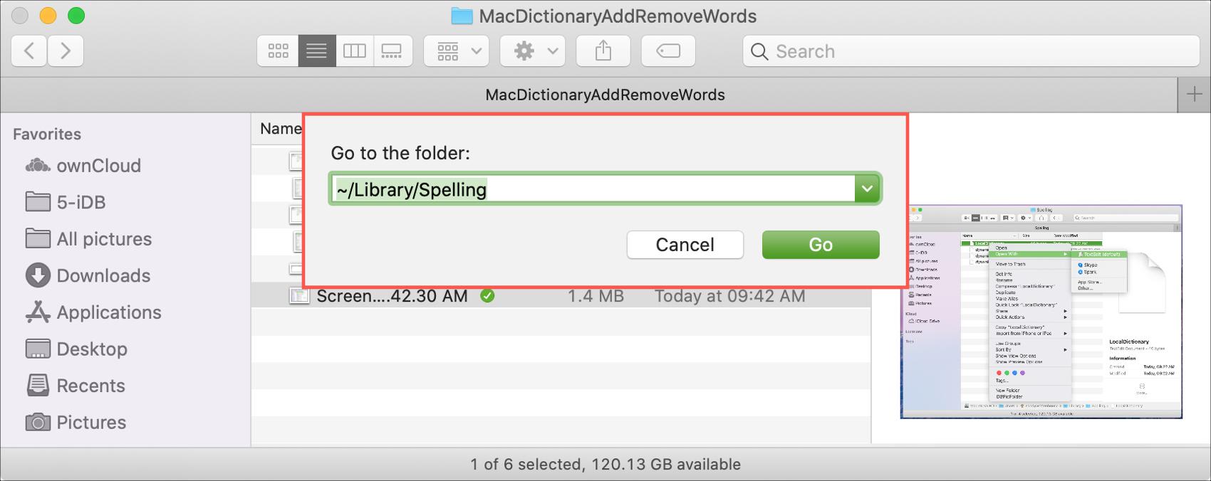 Prejdite do knižnice priečinkov Mac Spelling