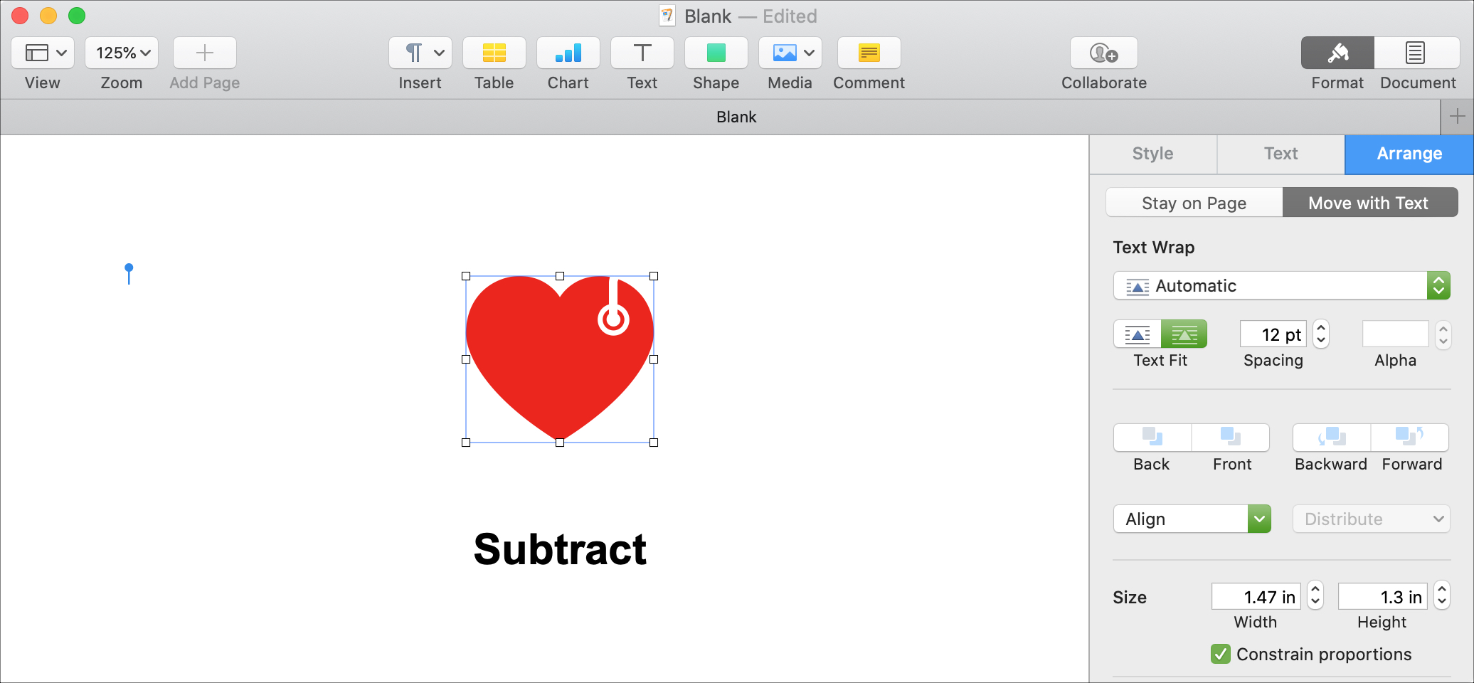 Odejmij Shapes Pages Mac