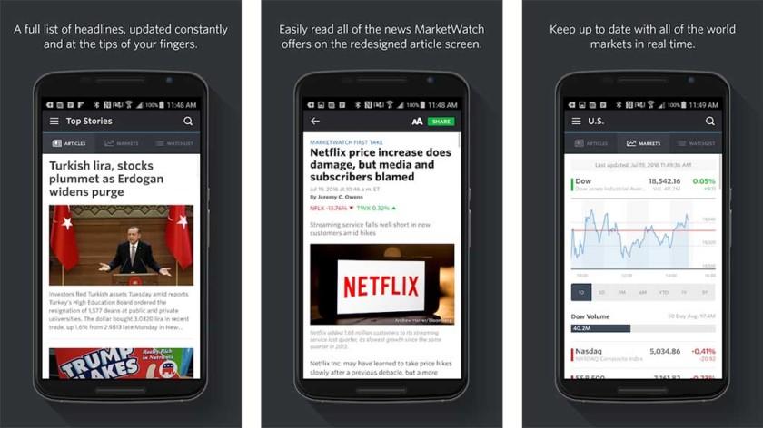 O MarketWatch é um dos melhores aplicativos do mercado de ações para android