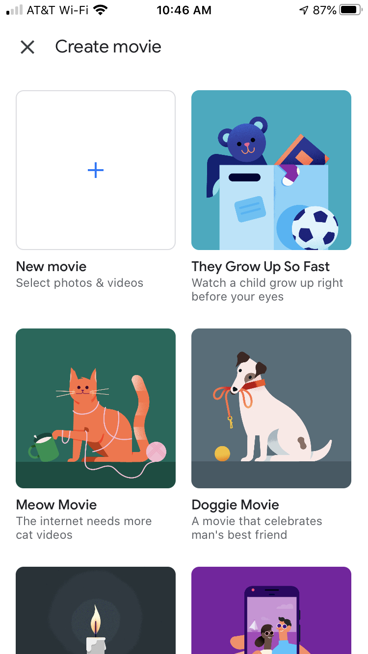 Fotografie Google Vytvorte film pre iPhone