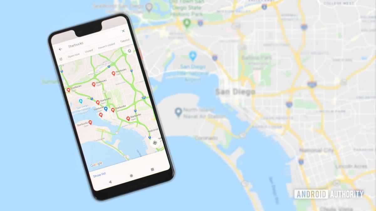 O Google Maps está procurando Starbucks