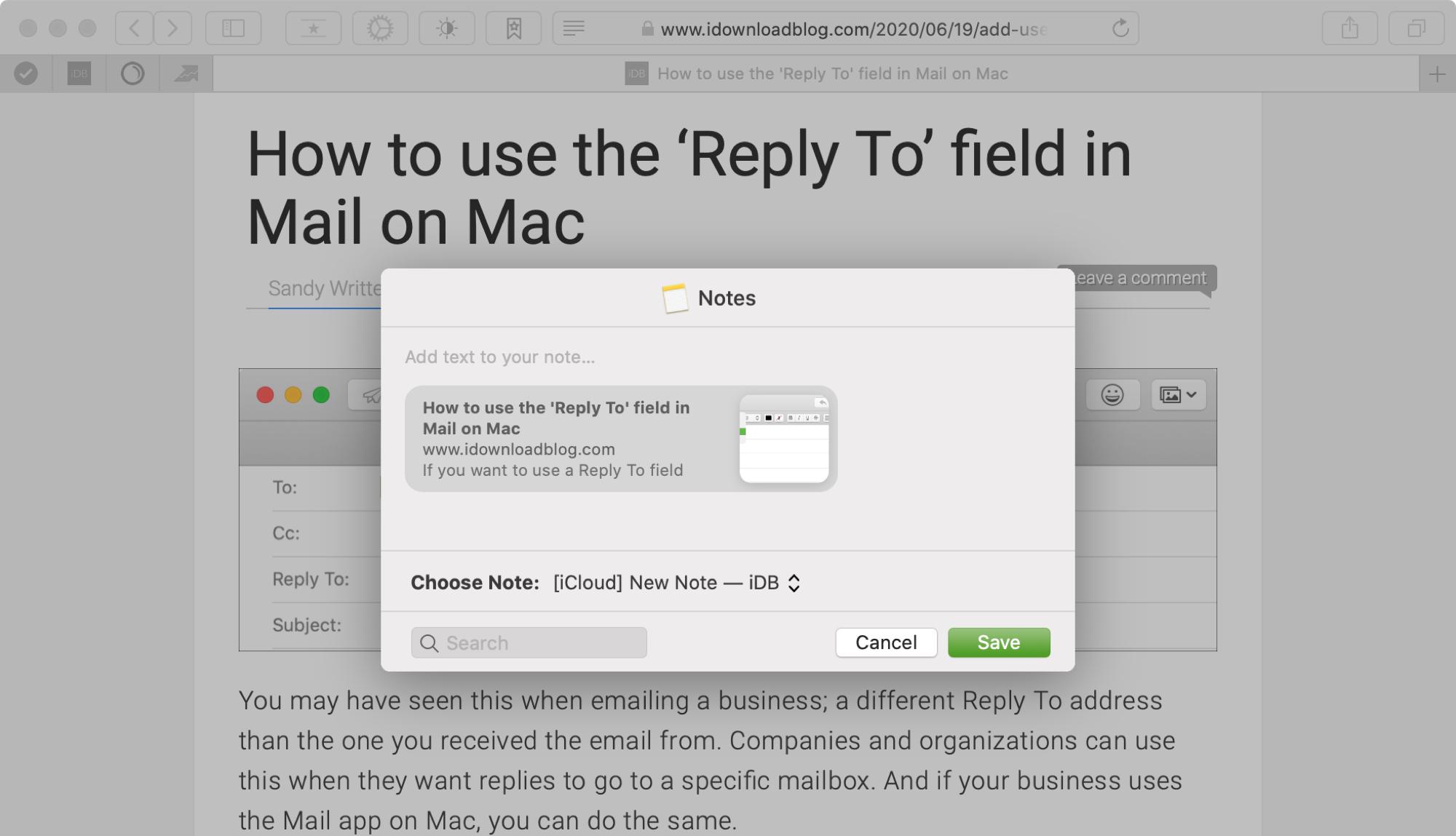 Zdieľajte odkaz na Notes Mac