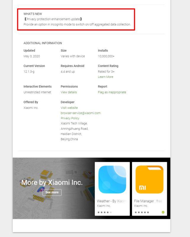 Xiaomi Mi -selain ja Mint Browser Incognito päivittyvät tietoturvaongelmien jälkeen 1