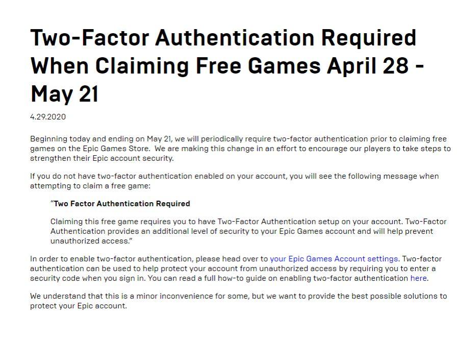 Agora a Epic Games Store exigirá 2FA para se inscrever nos jogos gratuitos 1