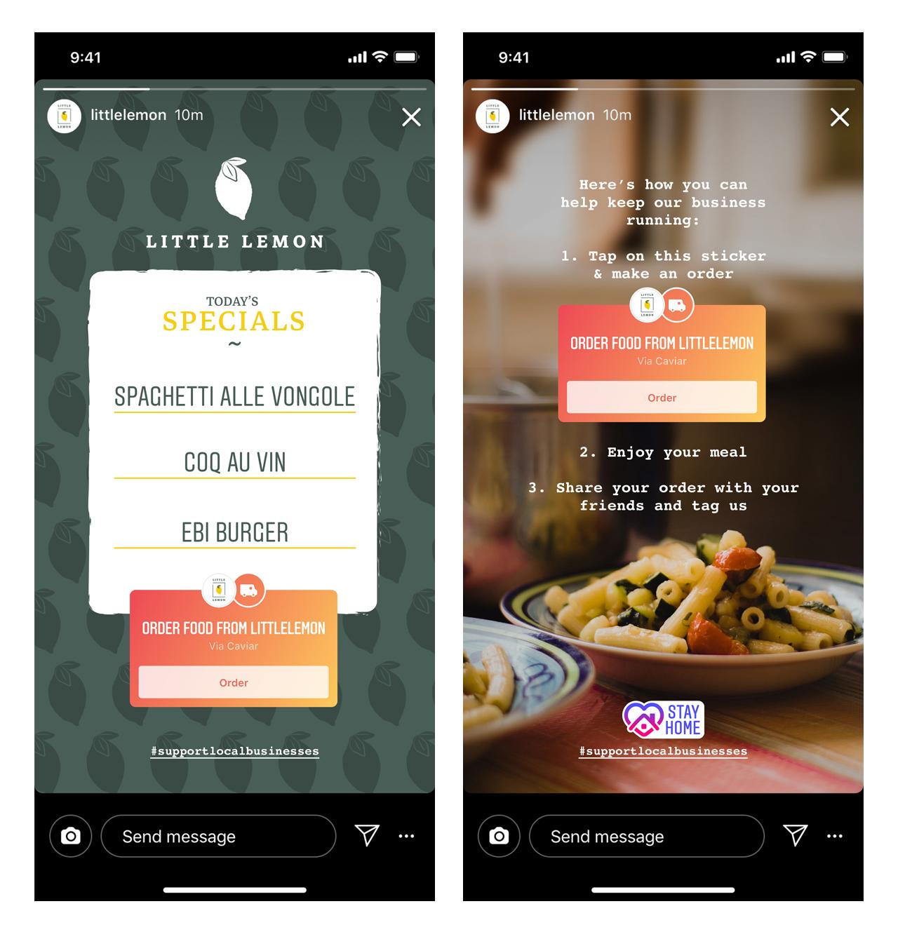 Instagram  Lisää Tilaa ruoka -painikkeen ja tarrojen toiminnot paikallisten yritysten auttamiseksi 1