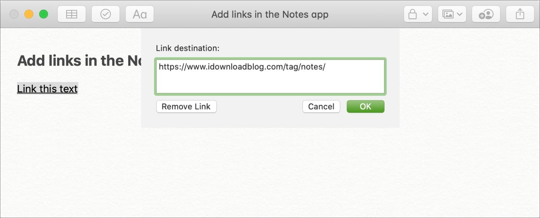Pridajte odkaz na text v systéme Notes Mac