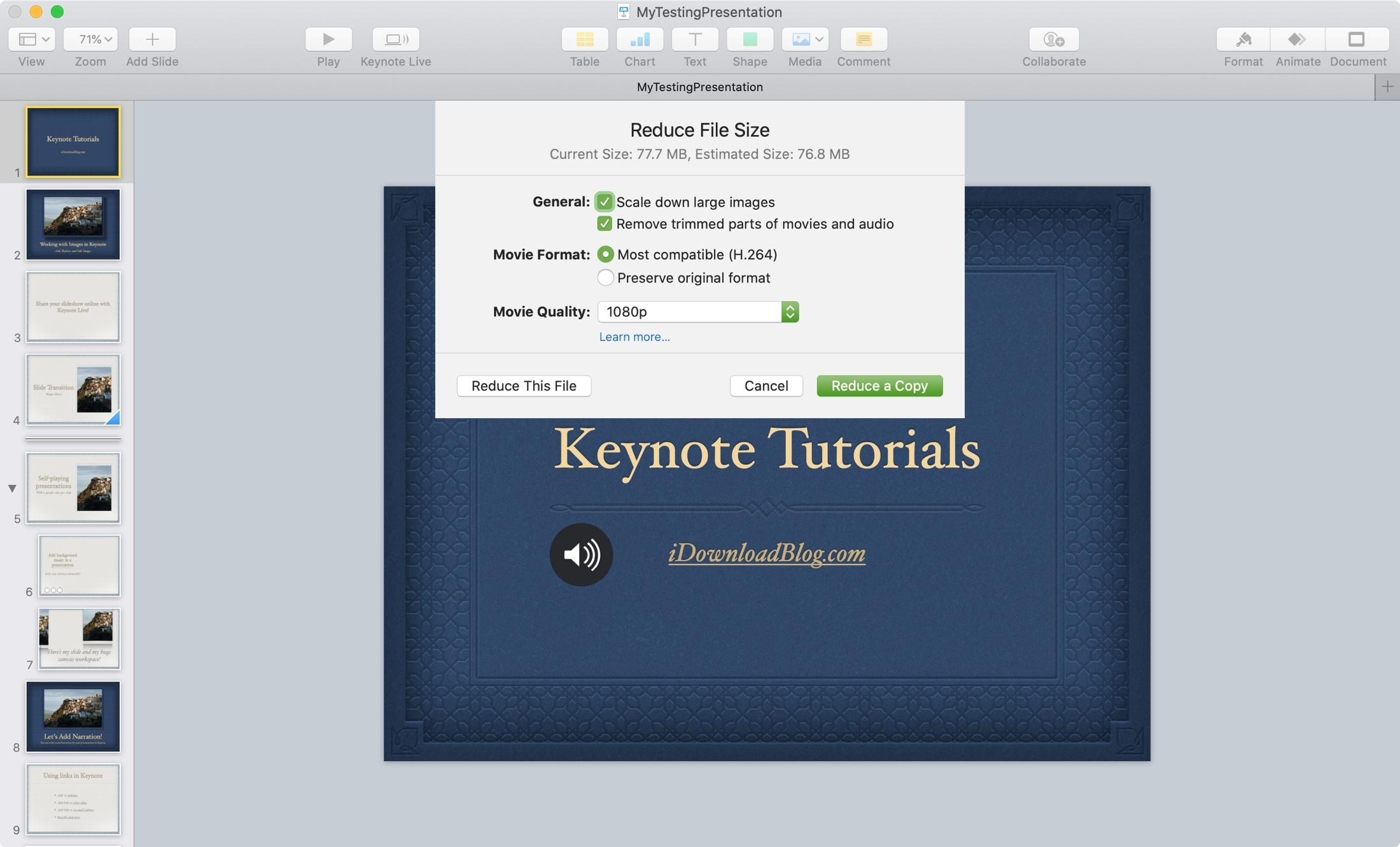 Znížte nastavenie veľkosti súboru pre program Keynote Mac