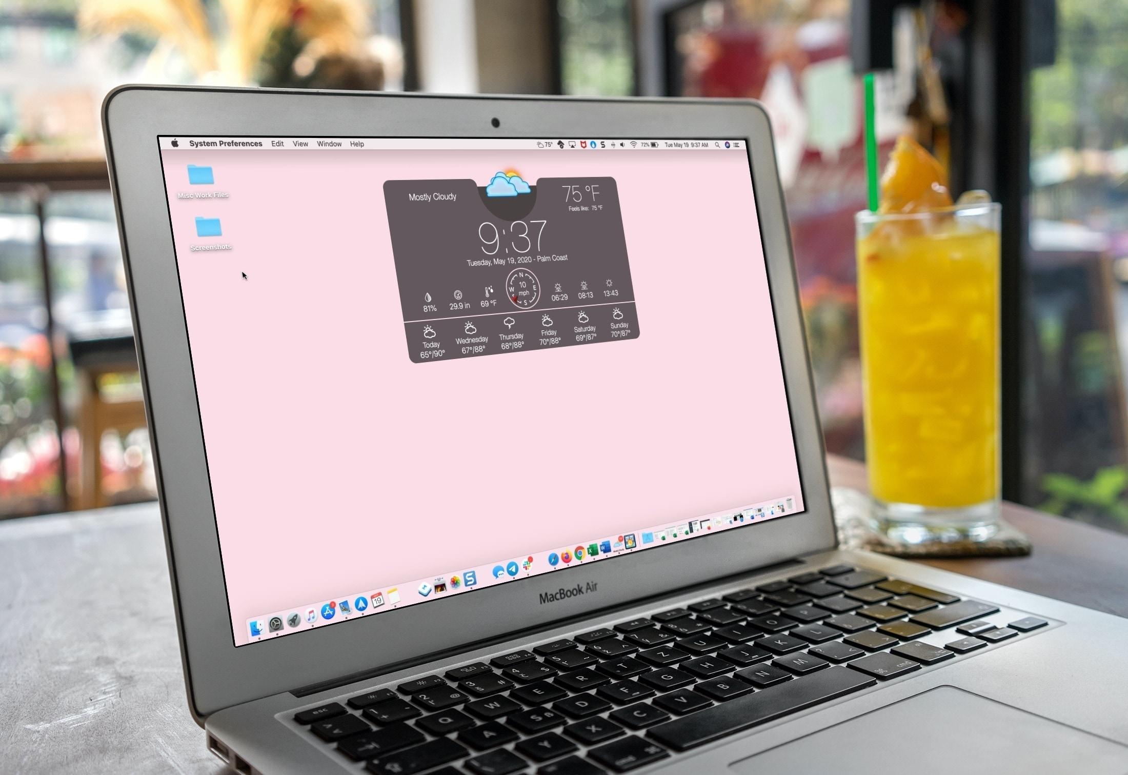 Aplicativos climáticos para Mac - área de trabalho com widget climático