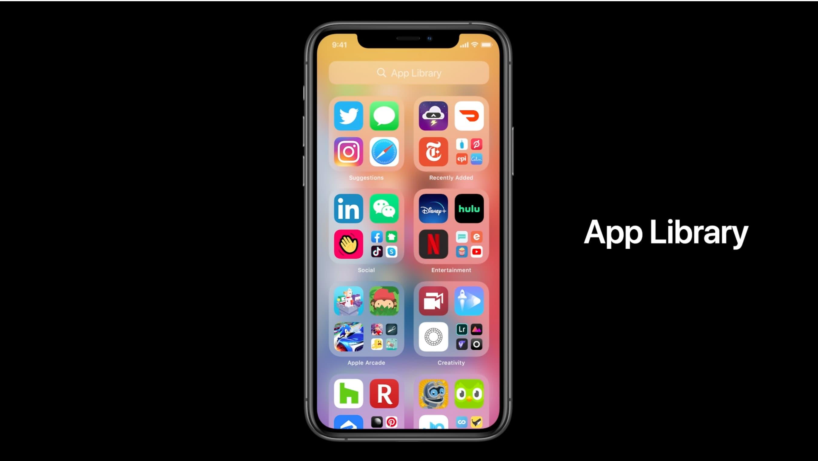 Pobieranie aplikacji na iPhone'a - slajd wprowadzający do biblioteki aplikacji WWDC 2020