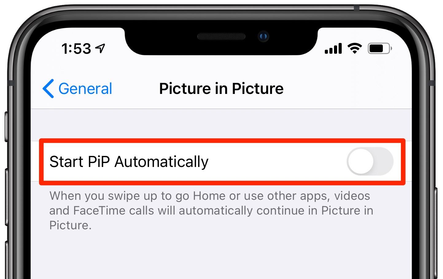 Obrázok na obrázku na iPhone - Nastavenie automatického spustenia piP je vypnuté