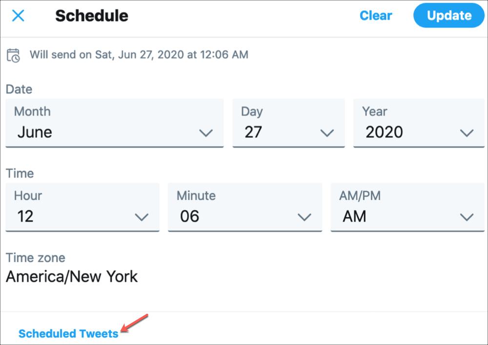 Twitter        Zobraziť naplánované tweety