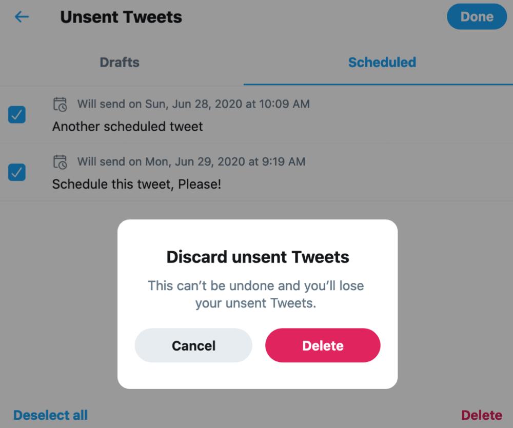Twitter        Odmietnuť a odstrániť naplánovaný tweet