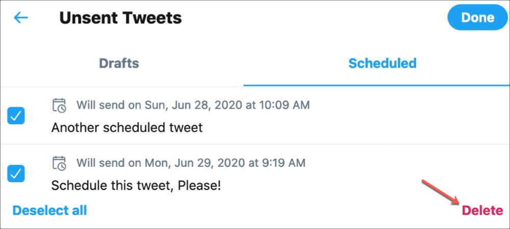 Twitter        Odstráňte naplánovaný tweet