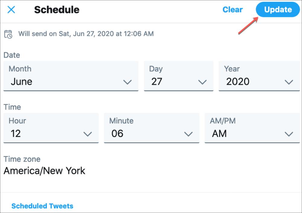 Twitter        Aktualizovať naplánovaný tweet