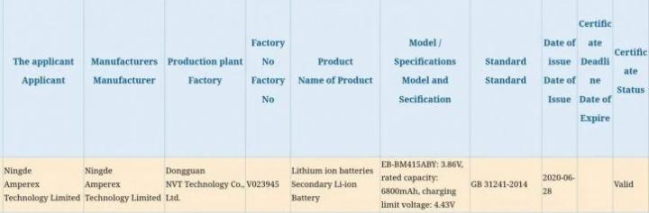 Samsung Galaxy M41 pode trazer uma bateria quase 7.000 mAh 3