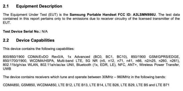 Nové technické údaje spoločnosti Samsung Galaxy Poznámka 20 Ultra vydané s certifikáciou FCC 1