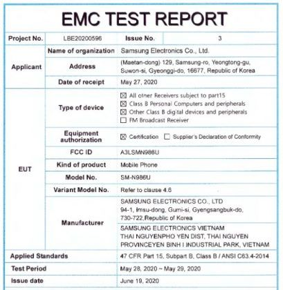 Nové technické údaje spoločnosti Samsung Galaxy Poznámka 20 Ultra vydané s certifikáciou FCC 2