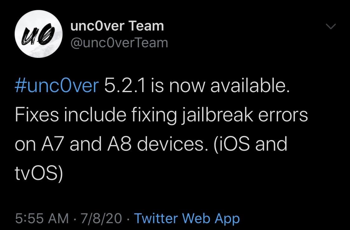 Unc0ver útek z väzenia aktualizovaný na verziu 5,2,1 s opravami a vylepšeniami 2