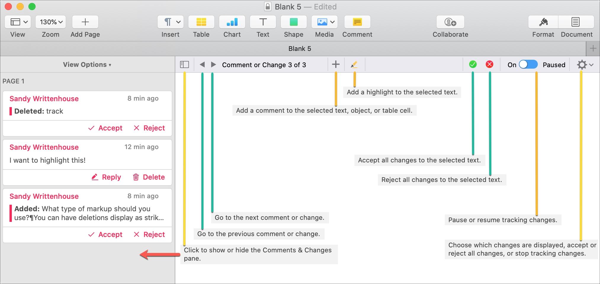 Panel s nástrojmi Pages Mac Review