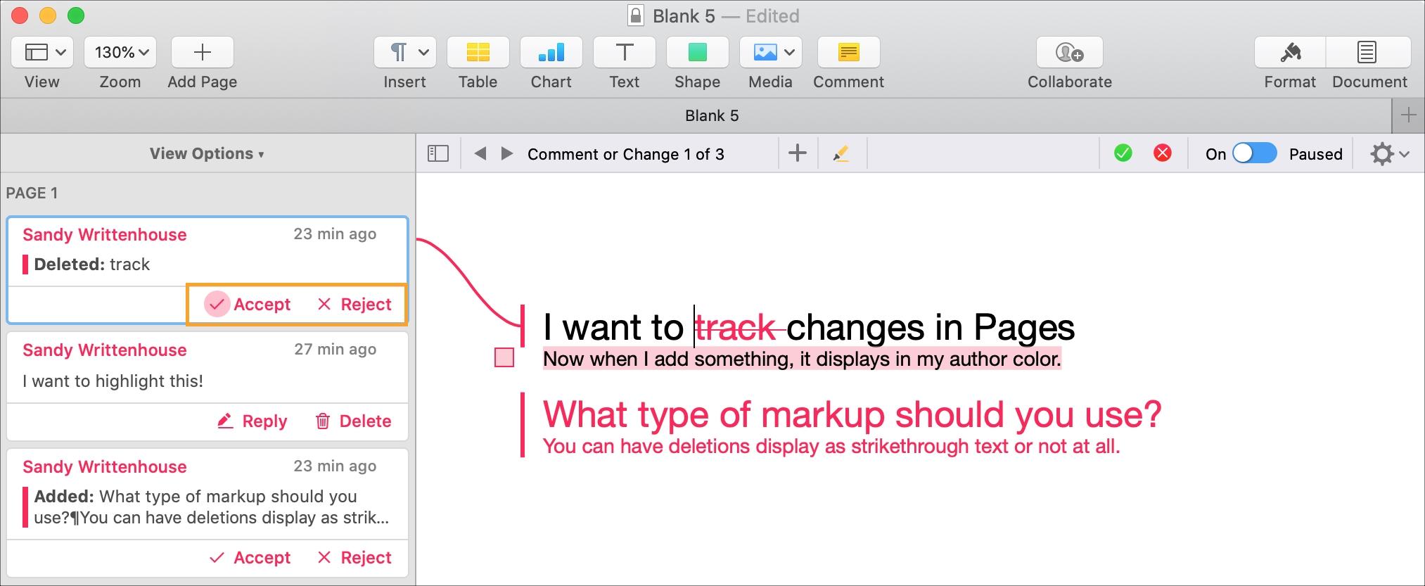Stránky Mac Prijať Odmietnuť jednotlivé zmeny