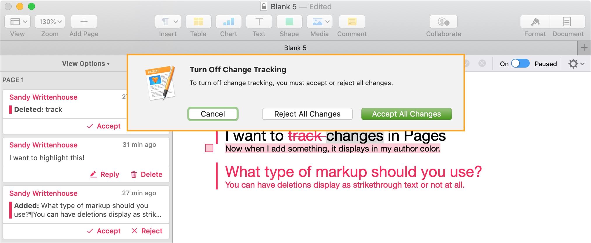 Stránky Mac Deaktivujte a prijmite Zrušte všetky zmeny